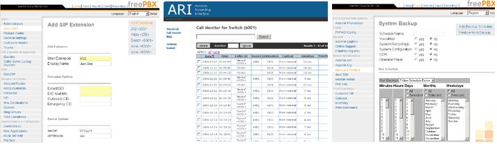 Скриншоты системы управления телефонными функциями